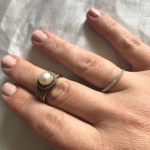 Silver and Pearl chunky statement ring
